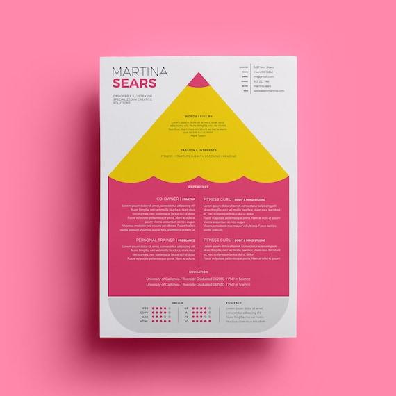 Designer Cv Template Resume Design Clean Creative Fun Etsy