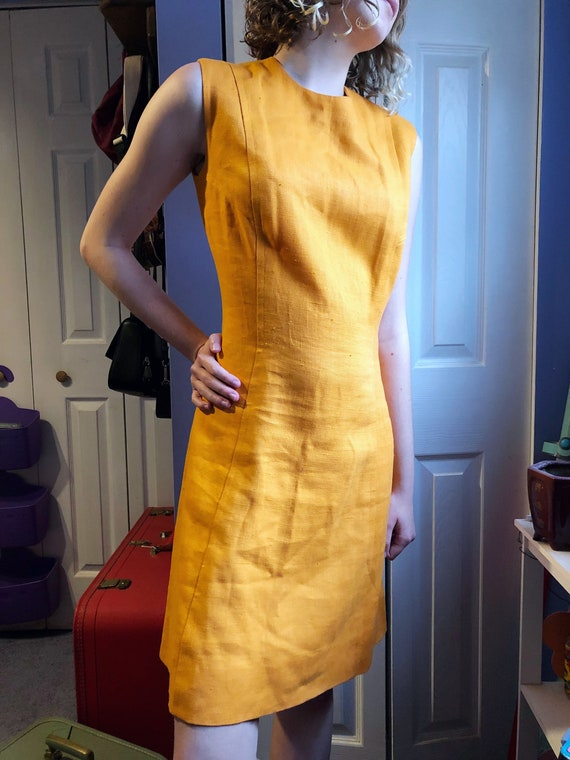Vintage Irish Linen Dress, Yellow/Orange Dress, wo
