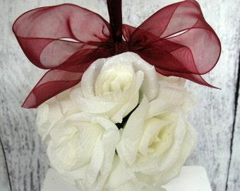 White wedding kissing ball, Flower girl bouquet, Reception decoration, Silk wedding flowers, White wedding decor, Pomander centerpeice