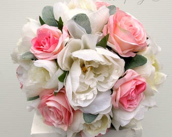 Wedding bouquet, Rustic bouquet, Peony bouquet, Pink and white wedding flowers, Rose bouquet, Silk wedding bouquet, Burlap and lace