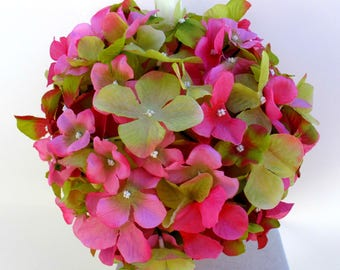 Wedding pomanders, Hot pink Lime green Wedding flower ball bouquet, Kissing ball, Wedding ceremony decorations