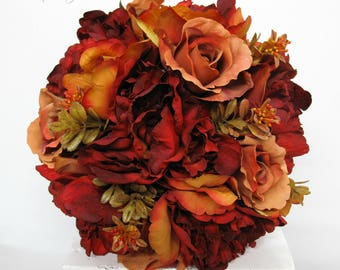 Fall Wedding bouquet - Rustic brown red mixed peony bouquet - Bridal bouquet