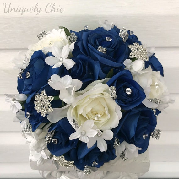 Blue Rose Bridal Bouquet Royal And Cream Rose Bling Winter Etsy