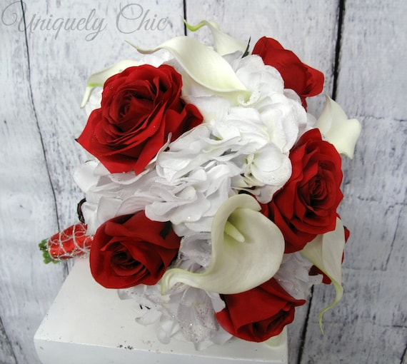 Rot Weiss Hochzeitsblumen Rote Rose Weisse Calla Rose Calla Etsy