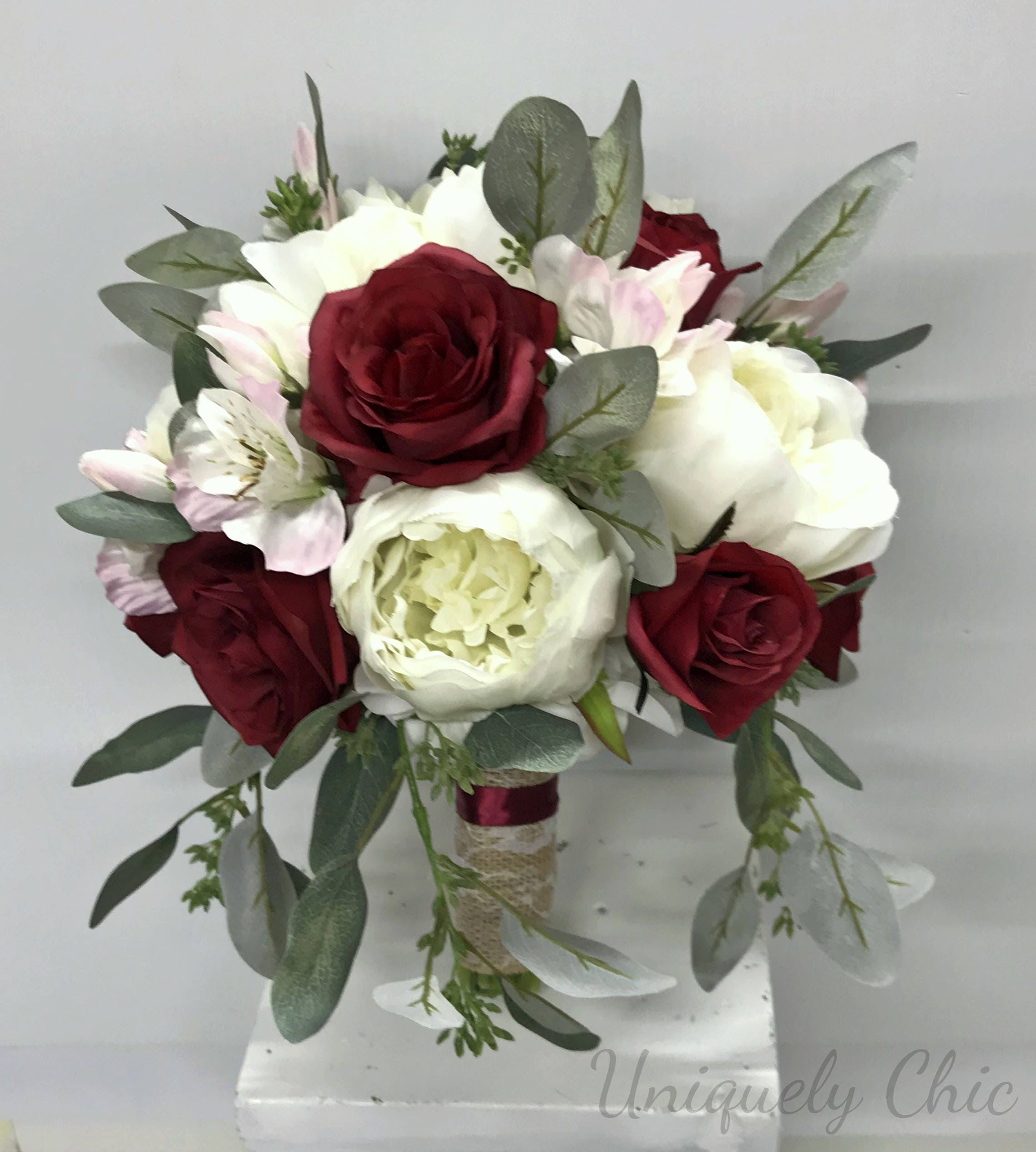 Diy Bouquet In A Box Cream Burgundy Blush Peony Rose Wedding Etsy