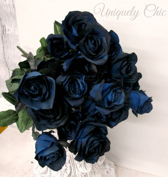 Enjoyable Diy Wedding Bouquet Navy Rose Bush For Wedding Centerpiece Bouquet Home Decor Craft Supplies Bride Bridesmaid Grad Prom Blooms Home Interior And Landscaping Fragforummapetitesourisinfo