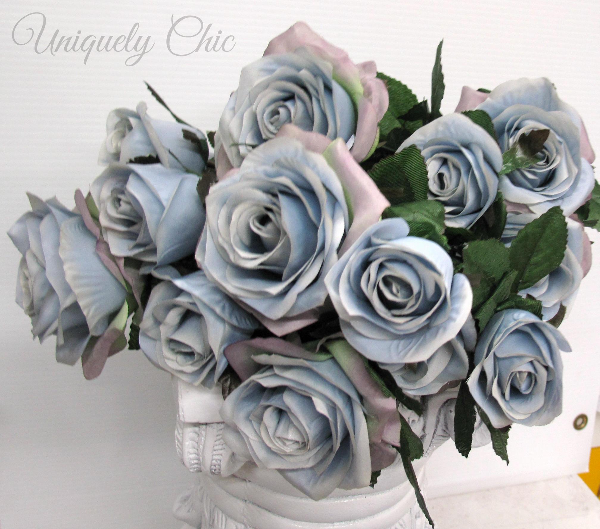 Diy wedding bouquet dusty blue rose bush silver blue rose bouquet 2752 izmirmasajfo
