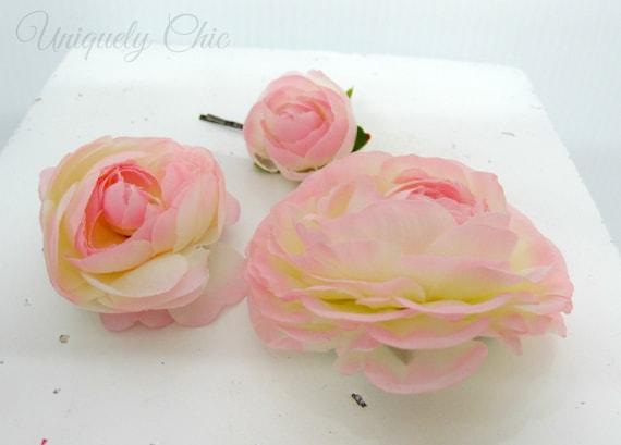 Blush Pink Hair Flower Or Brooch Bridal Wedding: Blush Pink Hair Accessories Ranunculus Wedding Hair Pins