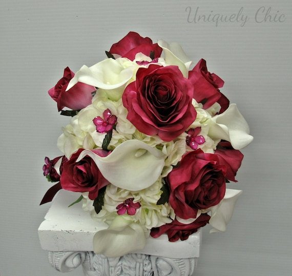Wedding Bouquet Berry Rose White Calla Bride Bouquet Etsy