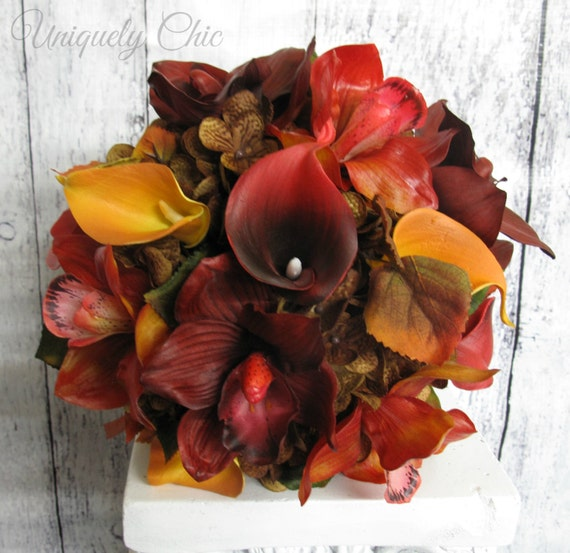 Fall Wedding Bouquet Red Orange Brown Real Touch Calla Lily Etsy