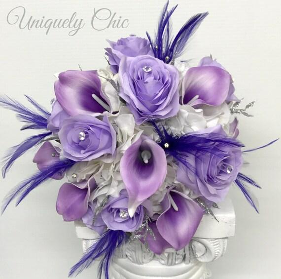 Silk Rose Flowers Purple and Lavender With Raindrops Organza  Grosgrain Ribbons SRWB-005 Wedding Bridal Floral Bouquet