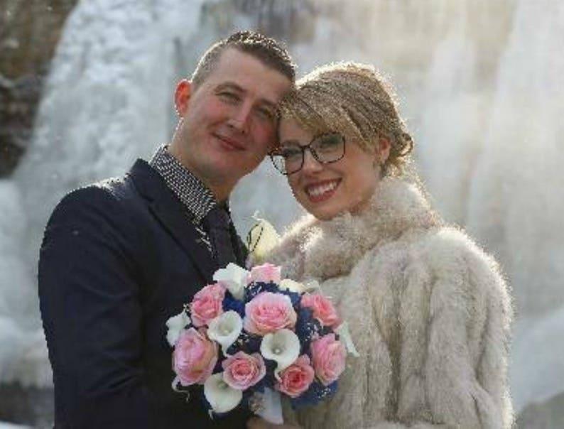 Pink Rose Wedding Bouquet Royal Blue White Silk Event Etsy