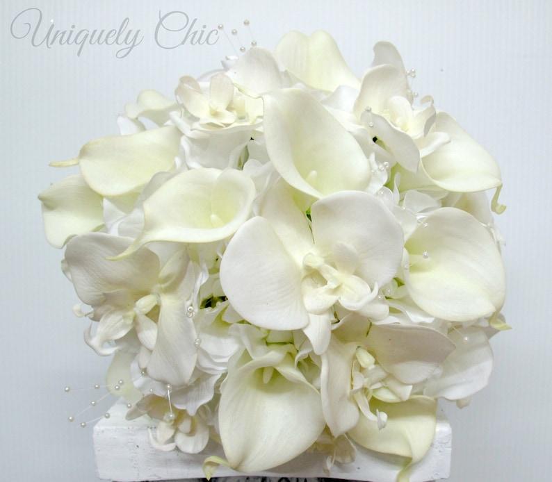 Bouquet Sposa Fai Da Te.Bianco Bouquet Da Sposa Bouquet Fai Da Te In Una Scatola Giglio Di Calla Bianco Orchidea Profumo Vero Tocco Bouquet Bouquet Da Sposa Perla Seta
