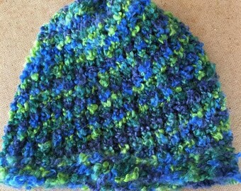 Aqua Blue Fuzzy Knit Hat