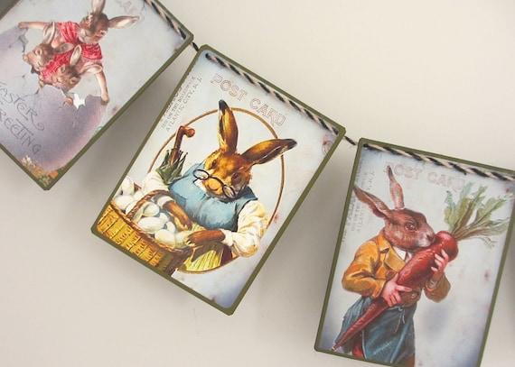 Tejer patrón-Easter Bunny Niño Niña y bolsas de regalo//decoraciones de árbol