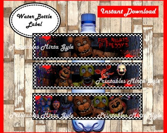 Five Nights At Freddys Water Bottle Label Printable FNaF Party Labels