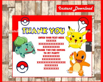 Pokemon Thank You Cards Instant Download Fill In Type On Them Card Birthday DIY PRINTABLE EDITABLE