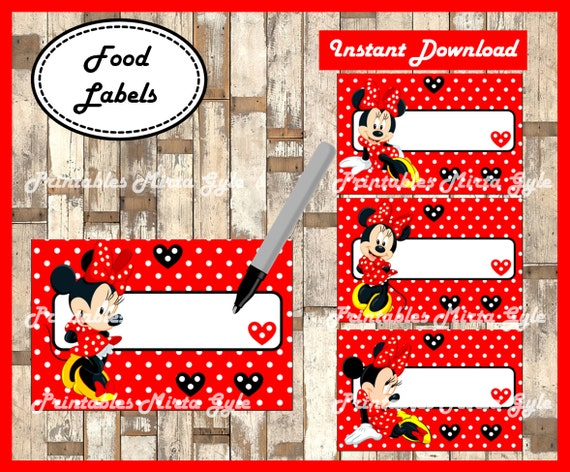 Minnie Mouse Food Labels Printable Party