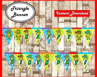 Ninja Turtles Banner, printable Ninja Turtles party Banner, Ninja Turtles baby triangle Banner