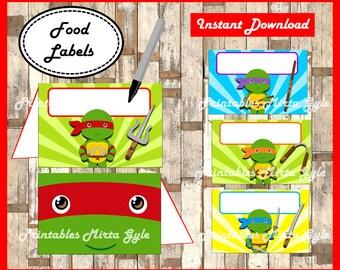 Ninja Turtles Food labels, printable Ninja Turtles party food tent cards , Ninja Turtle food tent cards