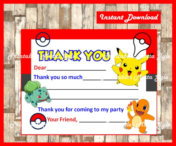 Pokemon Thank You Cards Instant Download Fill In