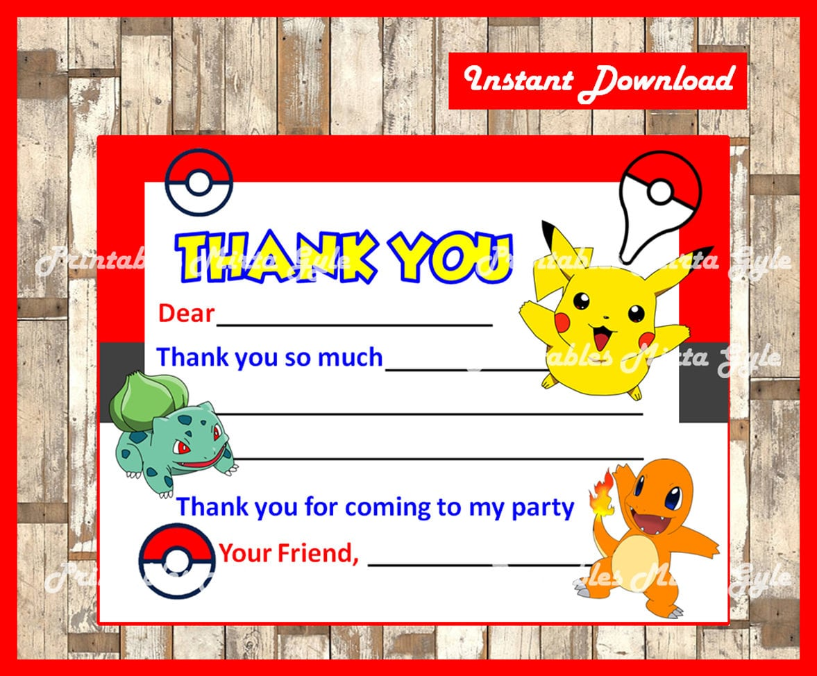 Pokemon Thank You Cards Instant Download Fill In Thank You Etsy