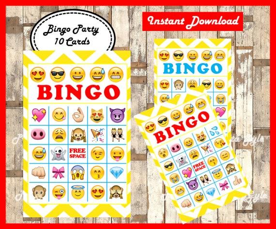 photo relating to Printable Emojis identified as Emoji Bingo 10 Playing cards, printable Emojis Bingo activity, Emoji printable bingo playing cards immediate obtain