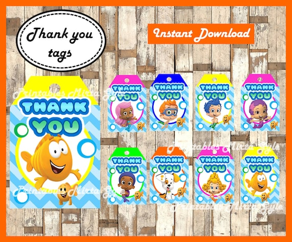 photograph relating to Bubble Guppies Printable titled Bubble Guppies Thank by yourself Tags, printable Bubble Guppies occasion Thank on your own Tags, Bubble Guppies Tags
