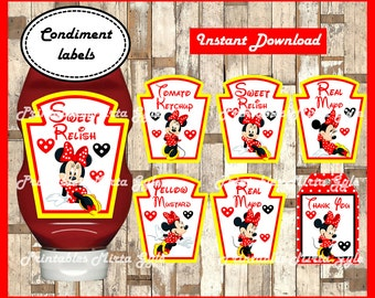 Minnie Mouse Condiments Label, printable Minnie Mouse party Condiments Label, Minnie Condiments Label