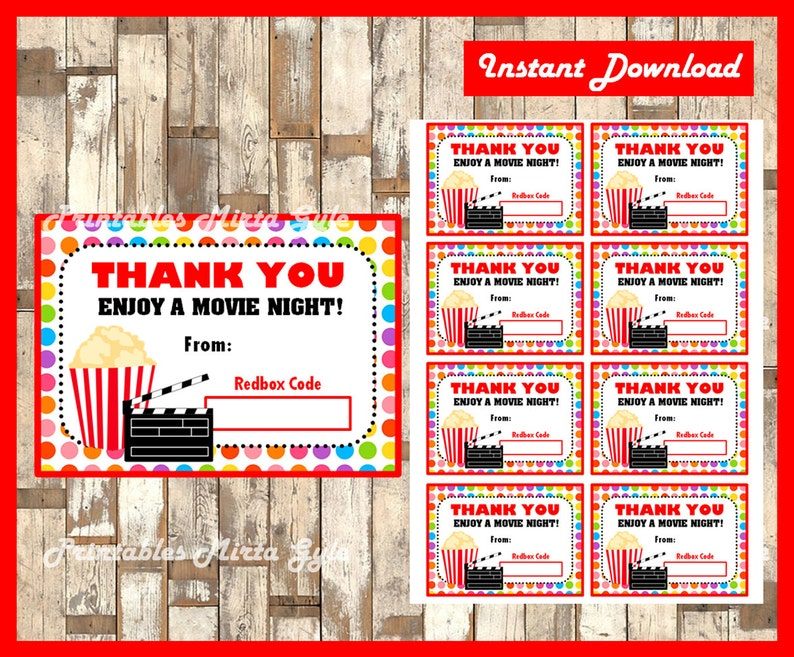 graphic relating to Printable Redbox Gift Cards identified as Redbox Reward Card immediate down load , Printable Trainer Appreciation Reward playing cards, Printable Redbox Take pleasure in a Video clip Night time playing cards