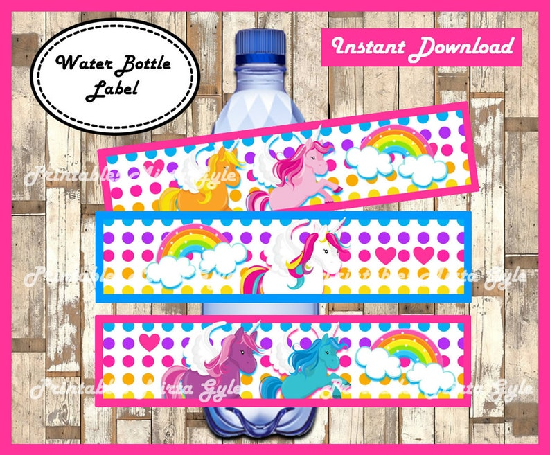 photograph regarding Water Bottle Labels Printable known as Unicorn Drinking water Bottle Label, printable Rainbow celebration Drinking water Bottle Label, Unicorns drinking water bottle labels