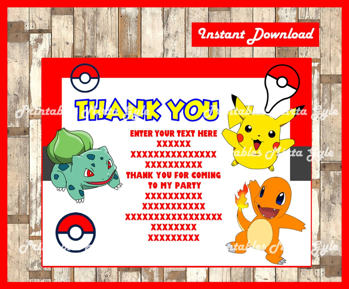 Pokemon Thank You Cards Instant Download Fill In Type On