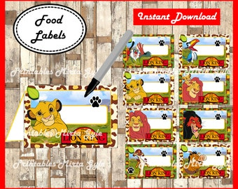 The Lion King Food labels, printable The Lion King party food tent cards , The Lion King food tent cards