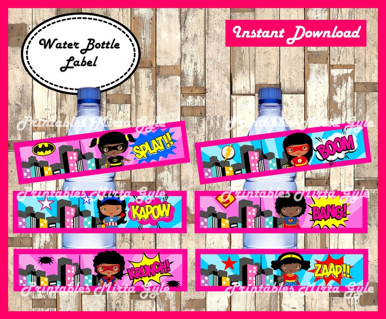Superhero girls Water Bottle Label printable girl Superhero image 0