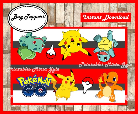 Pokemon Bags Topper Printable Party
