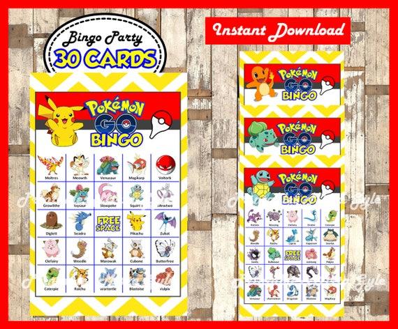 pokemon bingo 30 cards printable pokemon bingo game pokemon etsy