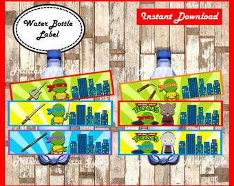 Ninja Turtles Water Bottle Label, printable Ninja Turtles party Water Bottle Label, Ninja Turtles baby water