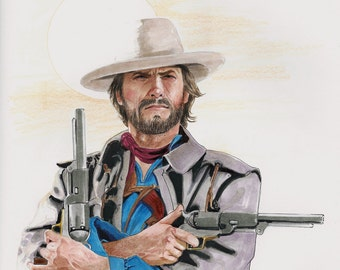 "Clint Eastwood as Josey Wales from the movie The Outlaw Josey Wales - 11"" x 14"" Signed Print"