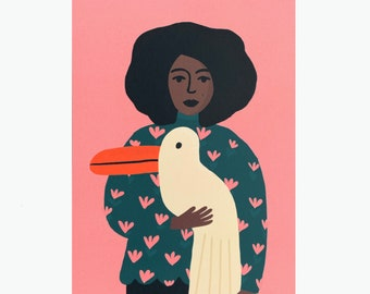 A girl with a big pelican bird on a pink background A5 miniposter / card.