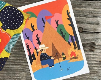 A4 poster, midsummer night, camp by the lake