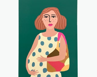 Mom in a polka dot dress on a green background A5 miniposter / card.