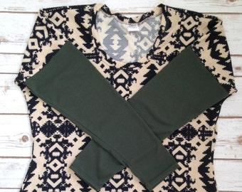 XXL Lovely Layering Sweater, Khaki & Black Aztec Body with Olive Sleeves