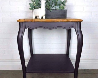 Deep Purple French Provincial End Table With Natural Top