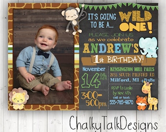 Safari Invitation First Birthday Zoo Theme Wild One Party Jungle Ideas
