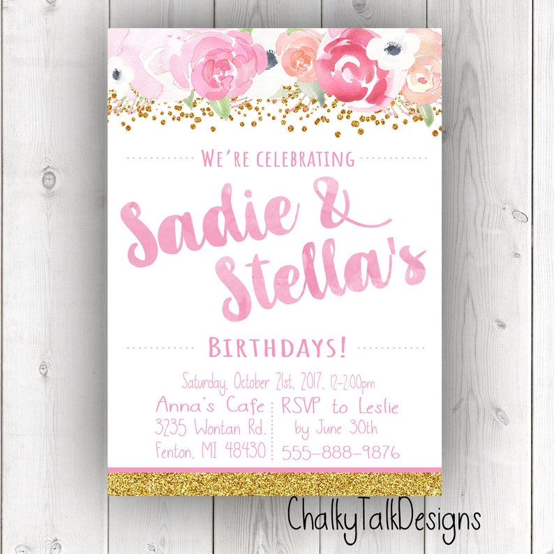 Pink And Gold Birthday Party Invitation