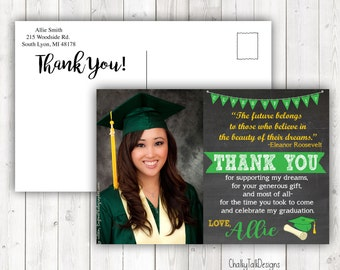 Graduation Thank You Cards, Can be any colors, mascot, etc. Graduation cards, Graduation 2017.