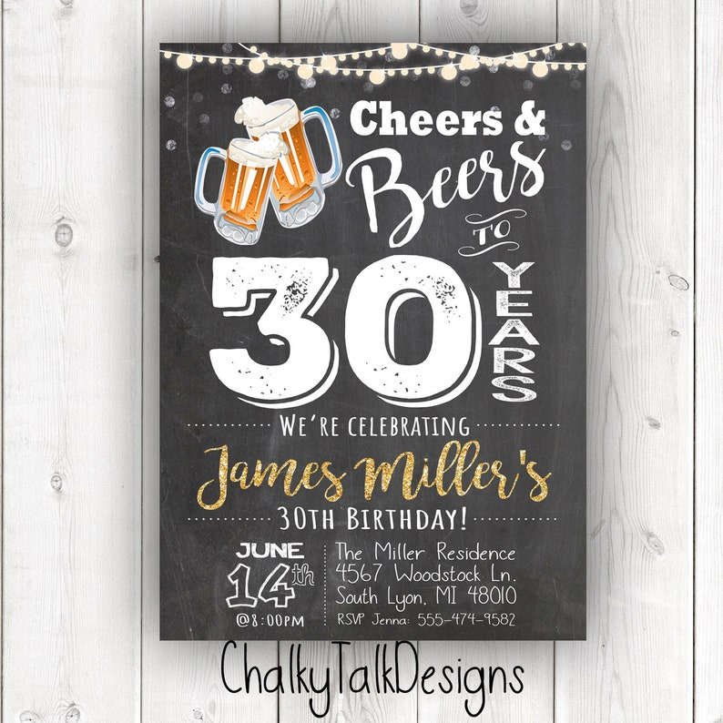 Cheers And Beers To 30 Years 30th Birthday Invitation Adult