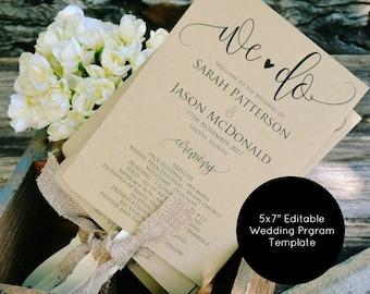 Wedding Program Template, Wedding Program Printable, We Do Rustic Program, Wedding Program Fan, Instant Download, Editable PDF, 5x7, WLP171
