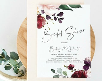 Floral Bridal Shower Invitation, Printable Shower Invitation Template, DIY Instand Download Editable PDF, WLP1066