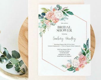 Bridal shower Invitation, Printable Floral Shower Invitation Template, DIY Editable Instant Download, Shower Invitation, WLP-PIN 1119